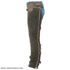 Fringed and trimmed  western chaps with leather accents made soft suede
