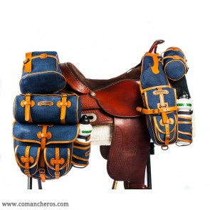Saddle bags in Denim and Leather