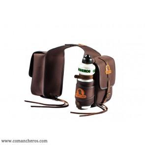 Double saddlebag in nylon with bottle holder