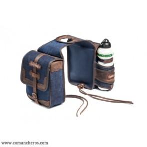 Front pommel bag in denim with bottle holder