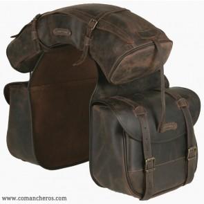 Large leather saddlebags with banana
