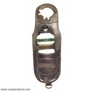 Pommel horn bottle holder in leather
