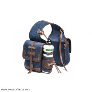Rear saddlebag in denim with bottle holder