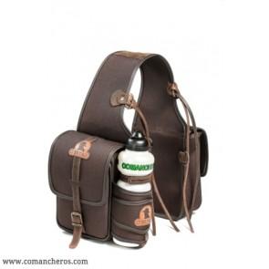 Rear saddlebag in nylon with bottle holder