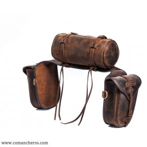 Rear saddlebags in leather with roll