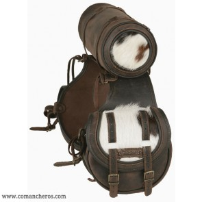 Rear saddlebags with roll, cowhide detailing