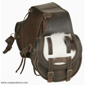 Round rear saddlebags with cowhide