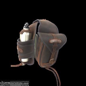 Saddlebag with bottle holder in leather