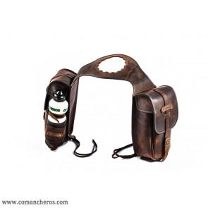 Saddlebags buckaroo saddle with water bottle